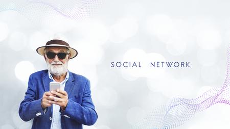 Elderly man using a mobile phone Stock fotó