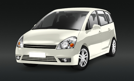 Side view of a ivory minivan in 3D