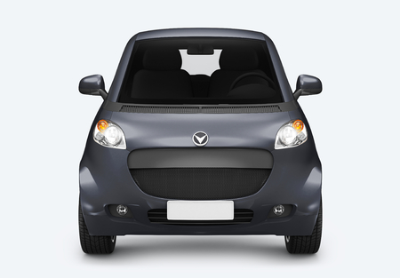 Front view of a gray microcar in 3D