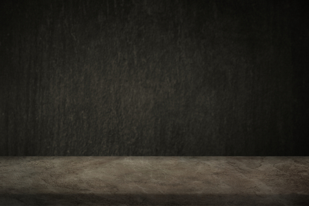 Rough dark brown cement wall with beige marble floor product background
