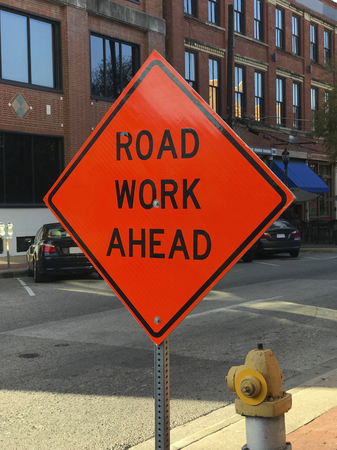 Road work ahead construction sign on the street Stock fotó