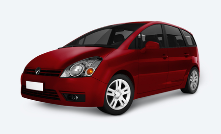 Side view of a red minivan in 3D 스톡 콘텐츠