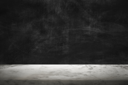 Dark cement wall with white marble floor product background Banco de Imagens