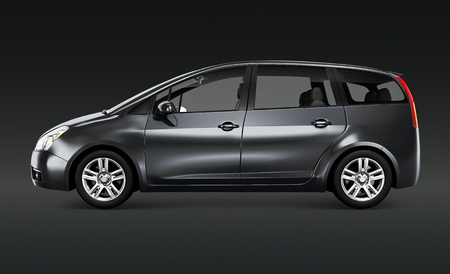 Side view of a gray minivan in 3D