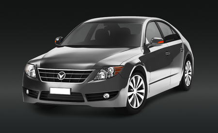 Side view of a gray sedan in 3D Stock Photo - 119081356