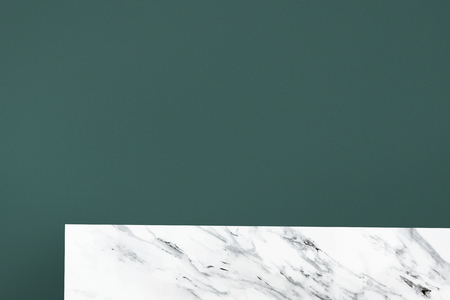 Plain green wall with white marble shelf product background Banco de Imagens