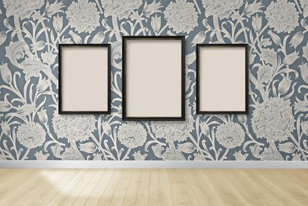 Frame mockup against a floral wallpaper