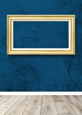 Luxurious baroque frame mockup on a wall