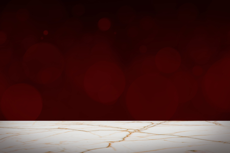 Dark red bokeh background with white marble