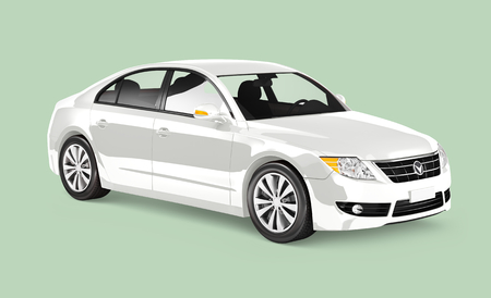 Side view of a white sedan in 3D 스톡 콘텐츠