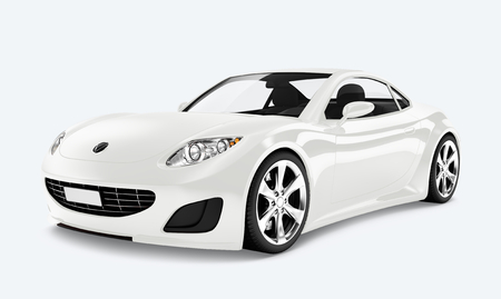 Side view of a white sports car in 3D
