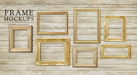 Luxurious baroque frame mockup on a wooden wall