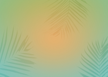 Vibrant background with tropical leaves silhouette