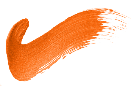 Tick mark shimmery orange brush stroke Stock Photo