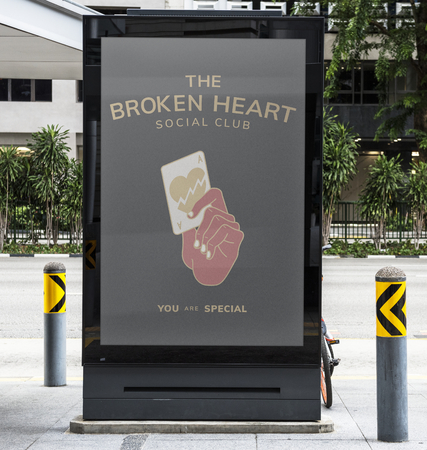 The broken heart signboard mockup