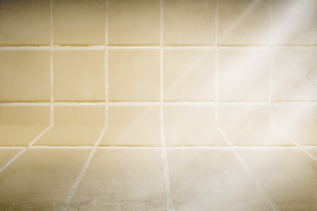 Pastel yellow tiles patterned product background