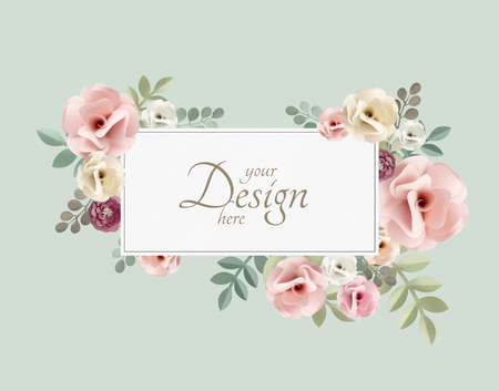 Pastel flowers themed banner mockup