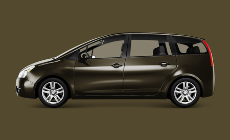 Side view of a bronze minivan in 3D Stock Photo