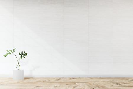 Roślina na tle białej makiety ściennej Zdjęcie Seryjne
