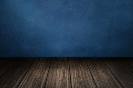 Wooden floor with blue wall product background