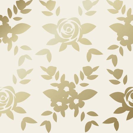 Gold botanical pattern background vector Иллюстрация