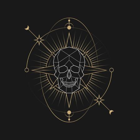 Geometric mystic death symbol vector Çizim