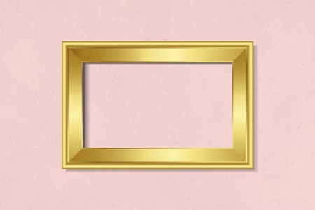 Luxurious golden frame mockup on a wall vector Çizim