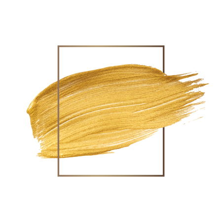Golden shimmery brush stroke badge vector Stock Illustratie
