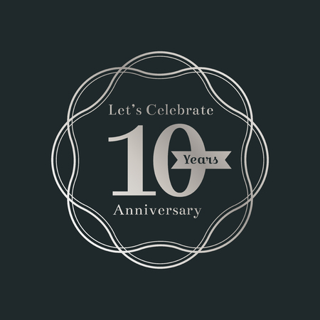 10 years anniversary logo badge vector