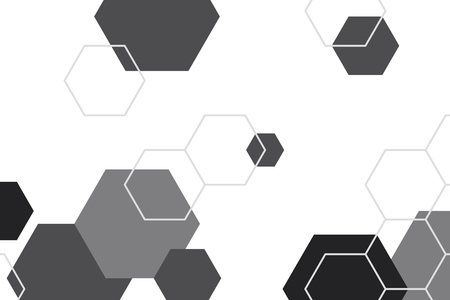 Black and white hexagon geometric patterned background vector 일러스트