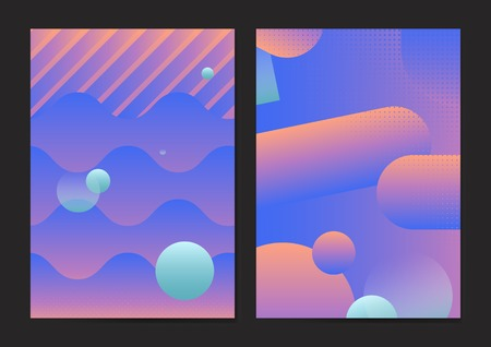 Bluish geometric abstract patterned poster vectors set Vector Illustration