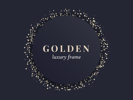 Gold circle frame on a black background vector