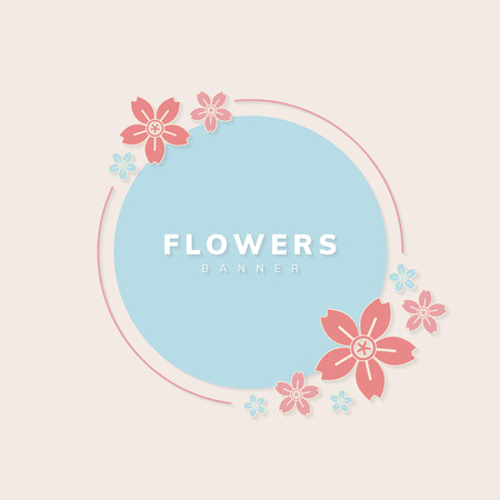Round spring flower badge vector 写真素材 - 124219948