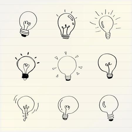 Creative light bulbs doodle collection vector 向量圖像