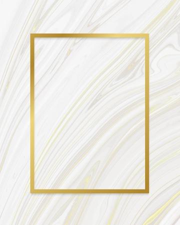 Golden framed rectangle on a liquid marble textured vector