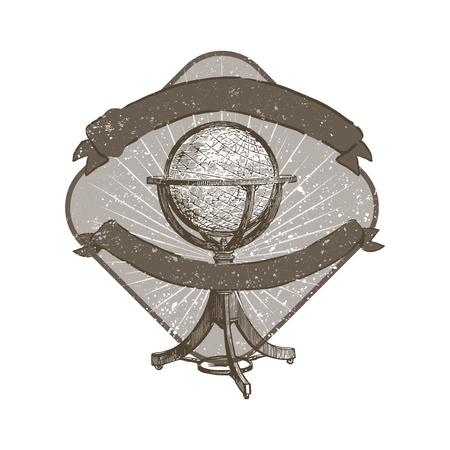 Standing globe illustration badge vector