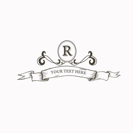 Conception d'insigne R baroque vintage