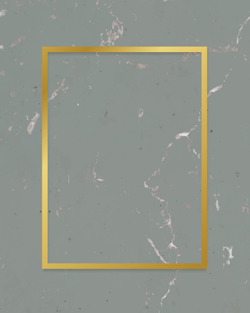 Golden framed rectangle on a marble textured vector