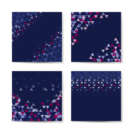 Colorful triangle patterned on blue background Illustration