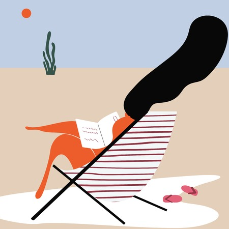 Woman tanning at the beach vector