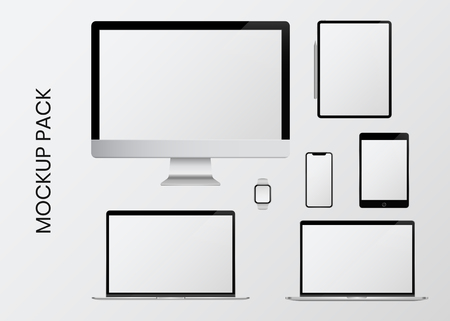 Digital modern devices mockup pack Stock Illustratie