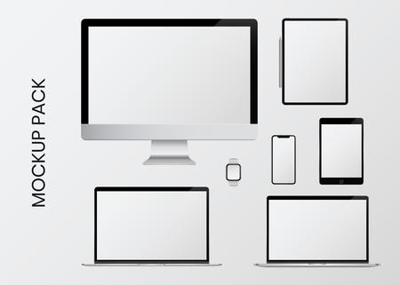 Paquete de maquetas de dispositivos digitales modernos