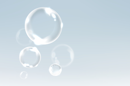 Soap bubbles floating into the sky background vector