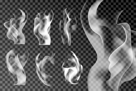 White smoke abstract background set vector Illustration