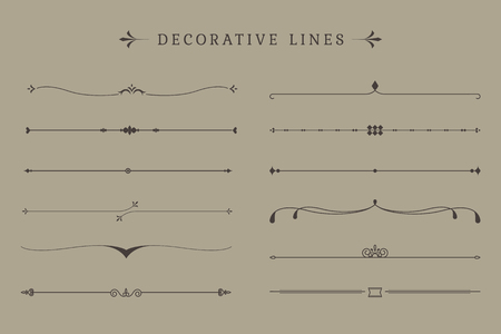 Vintage decorative line collection vectors Çizim