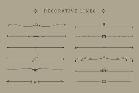 Wektory kolekcji Vintage dekoracyjne linii line Ilustracje wektorowe