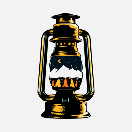 Camping lantern with a skyscape drawing vector