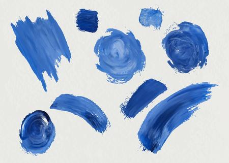 Blue acrylic brush strokes background vector