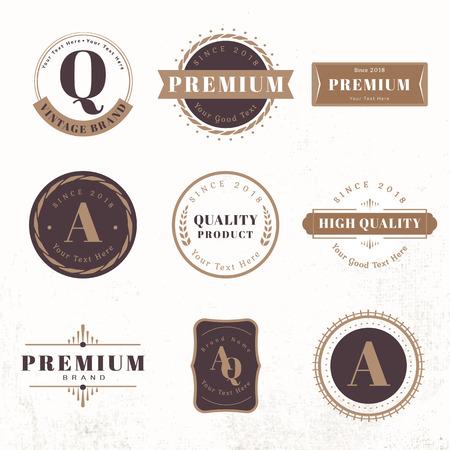 Vecteurs de jeu de badges premium vintage