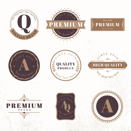Vintage premium badge set vectors